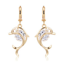 Fashion dangle Dolphin round Crystal Yellow Gold Plated Drop womens Hoop Earring