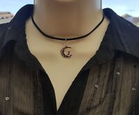 Suede Cat and Moon Choker Necklace Silver Cord Black Red Grey Purple Gift