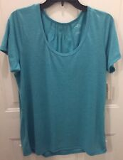 NEW ST.JOHNS BAY SJB ACTIVE TOP SHIRT Sz Large SHORT SLEEVE TURQUOISE STRIPE NWT