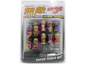MUTEKI SR35 20PCS WHEELS TUNER LUG + LOCK NUTS (CLOSE END/12X1.5/NEON CHROME) #