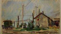 Russian Ukrainian Soviet Oil Painting industrial landscape ground impressionism