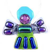 Dichroic Fused Glass ANGEL Green Teal PENDANT PIN COMBO Blue Purple Accents