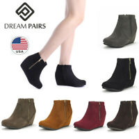 DREAM PAIRS Women's Suede Wedge Heel Round Toe Side Zipper Ankle Boots Booties