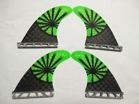 New G3/G5 Fiberglass Surfboard Fins, Quad (Set of 4), Green with 12K carbon