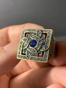 LaVintage Brass Costume Blue, Lavender, Green Rhinestone RIng Size 10 1/4