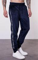 Tommy Hilfiger Men's Lounge Velour Track Pant Jogging Bottoms In Navy Blazer