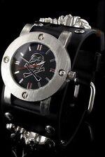 Jay Baxter Biker Gothic Herrenuhr Armband mit 2 Totenköpfe Armbanduhr   PJB310