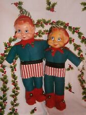 vtg PIXiE elf doll twins pair old toy Xmas Japan hand painted so sweet!