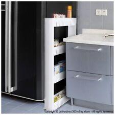 Storage Shelf Trolley Kitchen Pantry Organiser Rack Cart Bathroom Laundry White