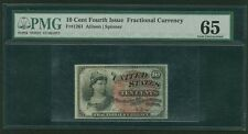 "1869-75 10 CENTS FRACTIONAL CURRENCY FR-1261 CERTIFIED PMG ""GEM UNCIRCULATED 65"""
