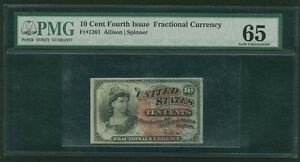 """1869-75 10 CENTS FRACTIONAL CURRENCY FR-1261 CERTIFIED PMG """"GEM UNCIRCULATED 65"""""""