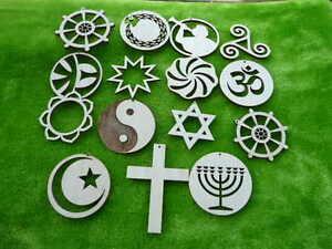 Variuos religion wooden cut outs, pendands cross, pentagram, om, star of David