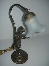 Table Lamp Brass Solid with Woman with Violin and Glass