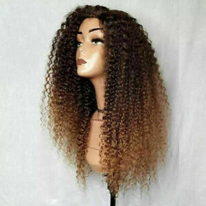 Luxury Lace Front Kinky Curly Ombre Auburn Brown Full Lace Human Hair Wig Blonde