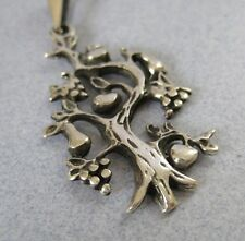 Mexican 925 Silver Taxco Large Family Fruit Tree of Life Abundance Solid Pendant