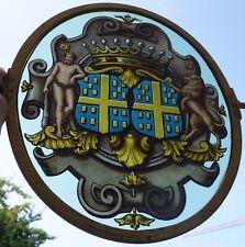 Antique enseigne verre peinture blason couronne comtale / Armoiries Vitrail Déco