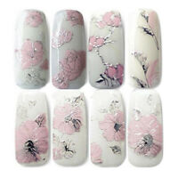 AM_ NE_ 3D Embossed Pink Flowers Design Nail Art Decal Tips Stickers Manicure To