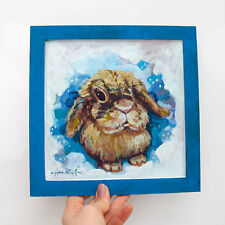 Snowy Hare / Rabbit / Snow / Blue / Animal / Original by Hahonin Xenia 18 x 18cm