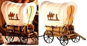 Southwestern Cowboy ** WESTERN WAGON WHEELS & COVER TABLE DESK CABIN LAMP ** NIB