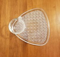 Pair of Vintage Cut Glass Triangle Snack Plate and Cup, 4pc Snack Set