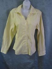 Orvis Wrinkle Free Yellow & White Striped Career Blouse Size 14 Ruffle Trimmed