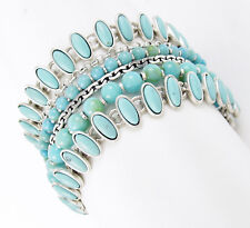LUCKY BRAND Turquoise Beaded Multi-Row Silver-Tone Wide Bracelet
