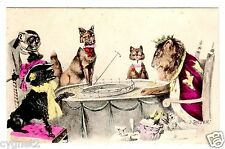 POSTCARD ANIMALS GAMBLING ROULETTE DOGS CAT ROYAL LION MONKEY SIGNED ANDERS