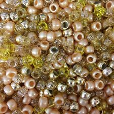 100 X Gold Metallic Barrel Shape Pony Beads 9x6mm