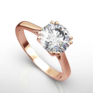DIAMOND ENGAGEMNET RING 2.00 CT ROUND 14K ROSE RED GOLD WEDDING ANNIVERSARY NIB