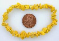 YELLOW HOWLITE CHIP GEMSTONE GEM STONE NATURAL BEADS STRETCH BRACELET SB35