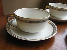 Syracuse China Lion Rampant & Oak Leaf Blue Gold band MISTIC LOT 3 cups Saucers