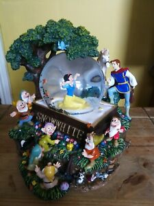 Rare Vintage Disney Snow white and the seven dwarves snow globe Music and blower