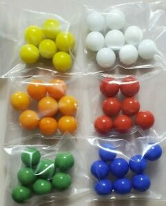 """44 Solid Color Replacement Marbles Chinese Checkers Aggravation GLASS 9/16"""" 14mm"""