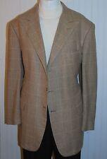 Ralph Lauren Mans 46 Long Script Label Sport Coat Jacket Brown Gray Plaid Nice