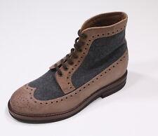 NIB New * BRUNELLO CUCINELLI * Tan/Gray Flannel Wingtip Ankle Boots Eu 40/ US 7