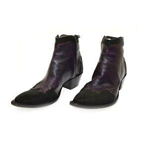 Tres Outlaws Purple Leather Black Pebble Beads Women's Boots 9.5 Cowboy Bootie