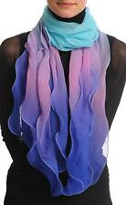 Electric Blue and Purple and Blue Double Layered Chiffon Ombre (SF000948)