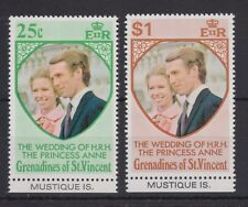 1973 Royal Wedding Princess Anne MNH Stamp Set Mustique Bottom Tab SG 1-2