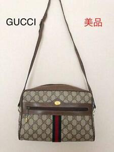 Genuine Old Gucci Bag Sherry Line GG Brown Shoulder Bag