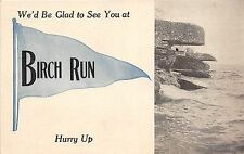 Michigan MI Postcard c1910 BIRCH RUN Pennant Glad to See You