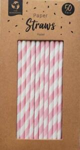 Eco Friendly Pink Paper Card Straws 50 Pack 100% Biodegradable Brand New Boxed