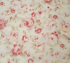 """St Ives a Lecien cotton quilt fabric pink flowers in green leaves 1 yd x 45/"""""""