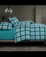 Cotton Sateen Green Check Queen Duvet Doona Quilt Cover With Pillowcases Set
