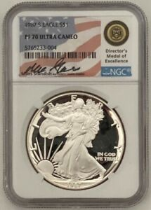 1987 S Proof Silver Eagle NGC PF70 ULTRA CAMEO  Standish Signed. VERY RARE