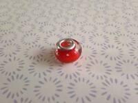 925 Glossy Bright Red Murano Glass Lampwork Charm Fits European Bracelet