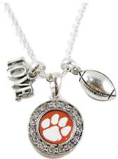 Clemson Tigers Multi Charm Love Football Orange Silver Necklace Jewelry CU
