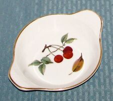 "Royal Worcester Eng Evesham Gold Cherries 7 3/8"" Round Eared Egg Bake Dish VGD"