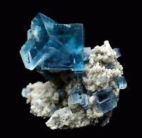 137.9g Rare!!! Beauty Transparent Blue Cube Fluorite Mineral Specimen/China