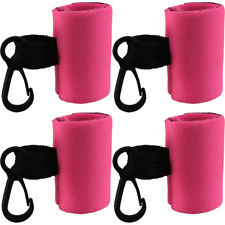 4 Clip-On Neoprene Pink Sleeve Lip Balm Lipstick Chapstick Holder Key Chain