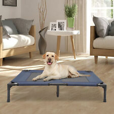 """36"""" x 30"""" Elevated Dog Cat Bed Pet Cot Cooling Cozy Camping Sleeper Blue"""